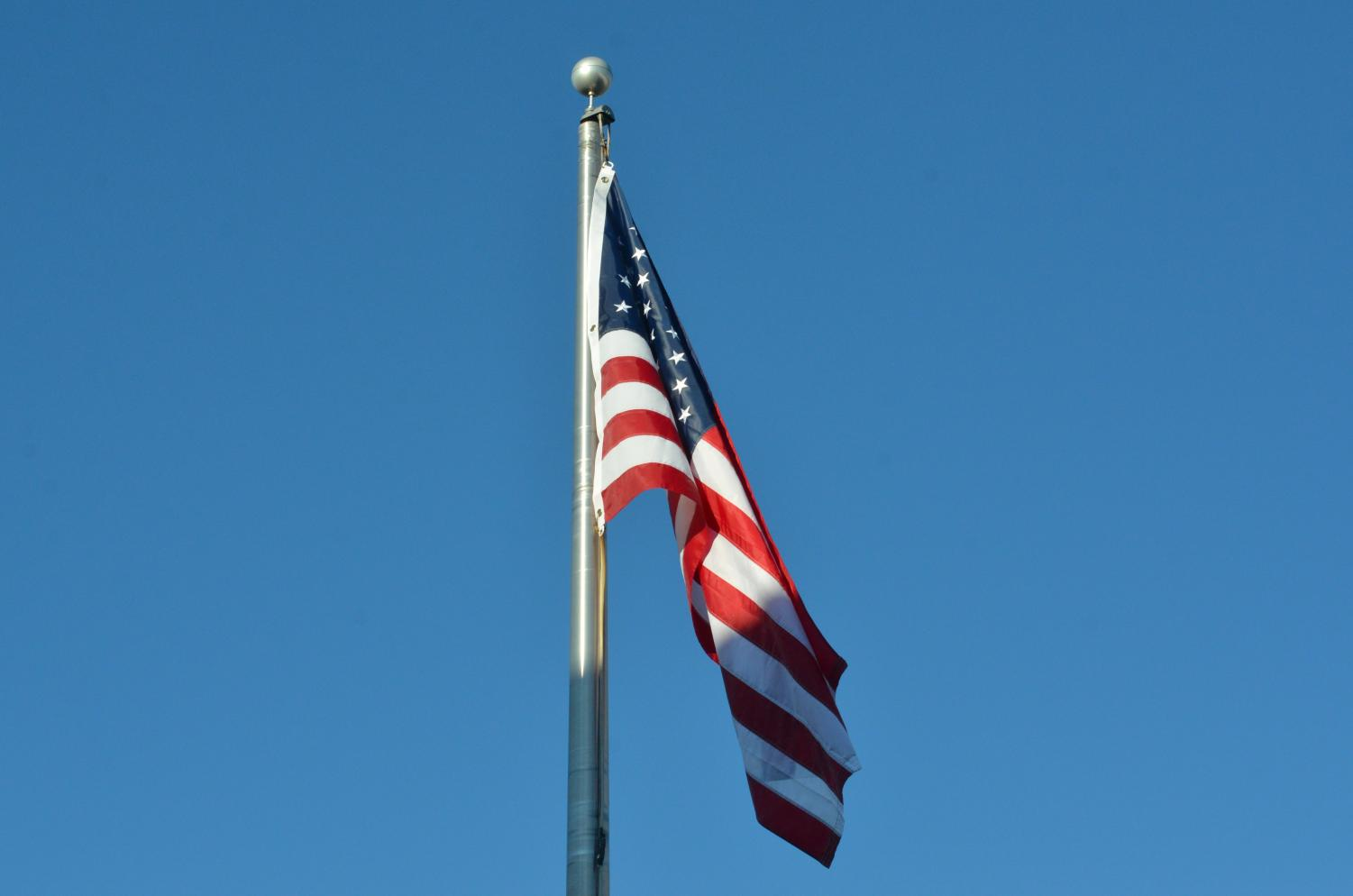 On Wednesday, February 23rd, 2021 at the front entrance of Lakeland High School is the American flag.