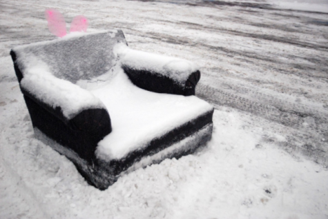 This picture is of a couch in the Lakeland High School parking lot. On Tuesday Feb. 16 during a very chilly day.