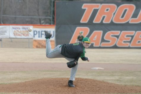 Josh Mason pitching from the mound Tuesday, March 15th