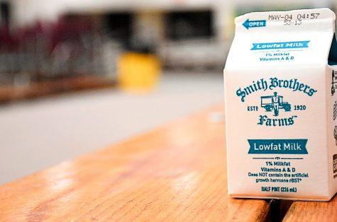 milk on a bench