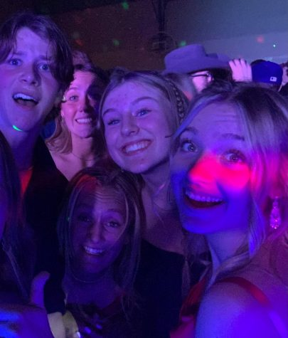 Logan Harris, Lila Kiefer, Karsyn Miller, Regan Wright, and Audrey Gibson dancing at the Lakeland Highschool Homecoming dance.